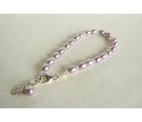 Lilac Oval Pearl Bracelet & Leaf Charm
