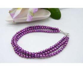 Magenta Smallest Round Pearl Three Strand Bracelet
