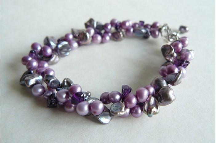 Purple & Amethyst Twist Bracelet
