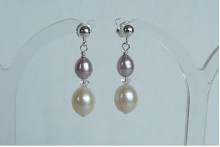 Lilac & White Pearl Stud Drop Earrings