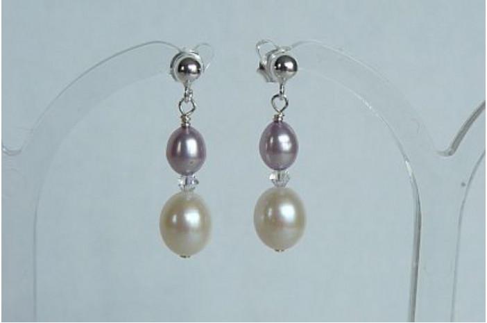 Lilac & White Pearl Stud Drop Earrings