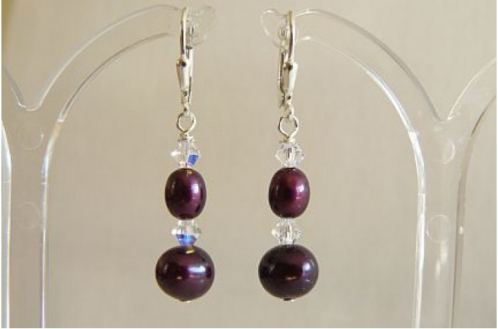 Mulberry Pearl & Crystal Drop Earrings