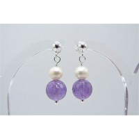 Amethyst & Pearl Stud Drop Earrings