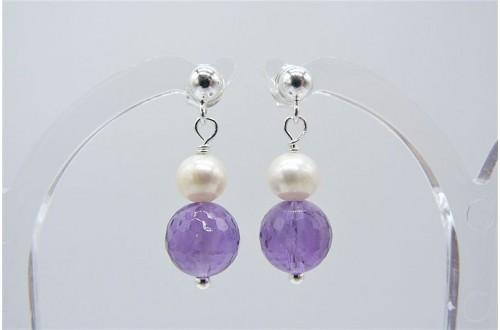 Amethyst & Pearl Stud Drop Earrings