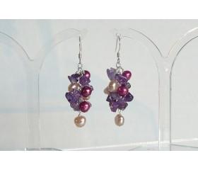 Pink Pearls & Amethyst Cluster Drop Earrings