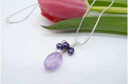 Amethyst & Pearl Pendant Necklace