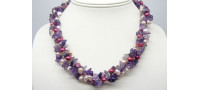 Pink Pearls & Amethyst Three Strand Twisted Necklace