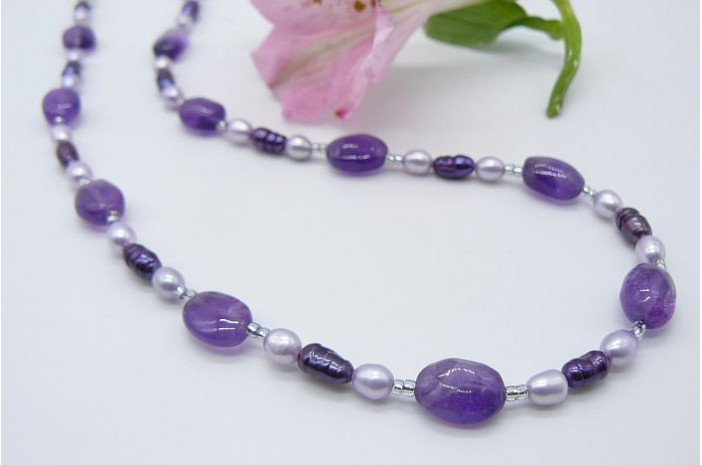Amethyst, Purple & Lilac Freshwater Pearl Necklace