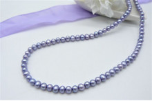 Children's Light Purple Smallest Round Pearl Necklace