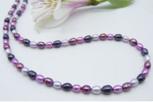 Mixed Pink & Purple Small Oval Pearl Necklace