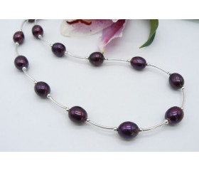 Mulberry Large Oval Pearl & Curved Tube Necklace