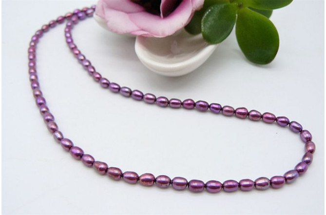 Plum-Pink Smallest Oval Pearl Necklace