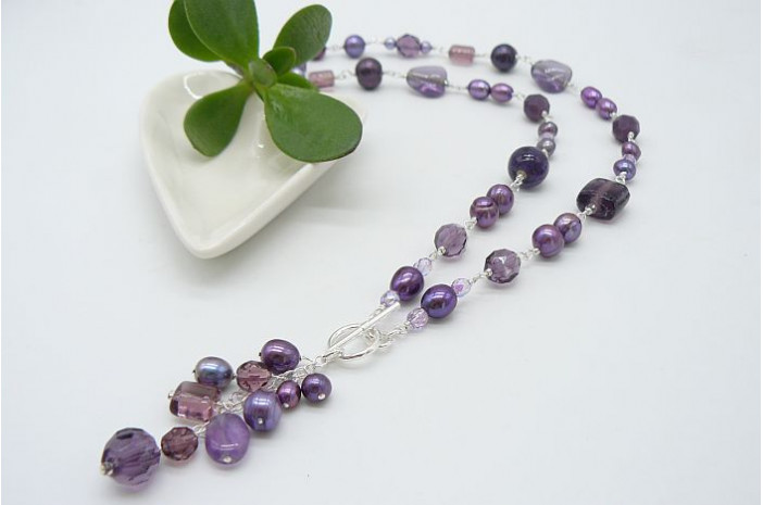 Purple Pearl & Bead Silver Linked Necklace