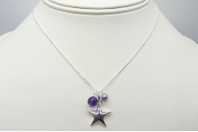 Sterling Silver Star & Amethyst Pendant Necklace