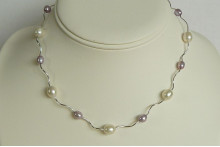Lilac & White Pearl Spiral Tube Necklace