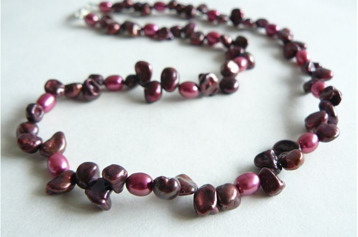 Mulberry Keshi & Pink Pearls Necklace