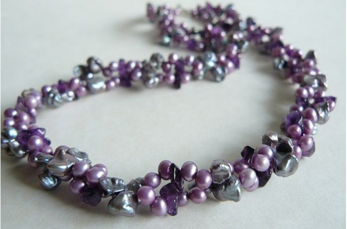 Purple & Amethyst Twist Necklace
