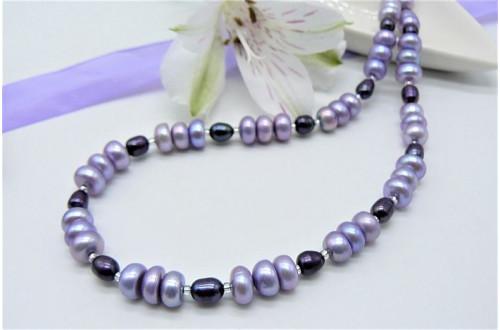 Light Purple & Dark Purple Mixed Pearl Necklace