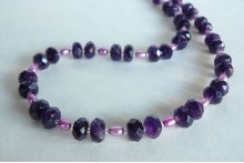 Purple Pearls & Amethyst Rondell Necklace
