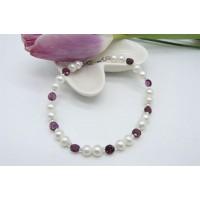 Garnet & Small Round Pearl Bracelet
