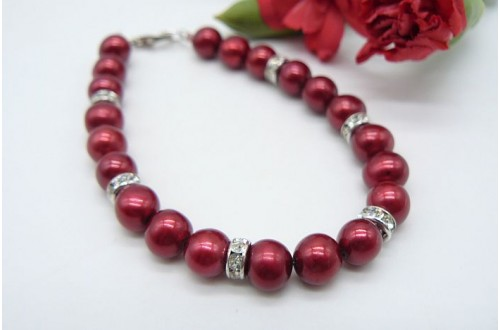 Red Large Pearl & Crystal Rondel Bracelet