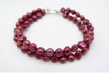 Red Baroque Pearl & Toggle Clasp Two Strand Bracelet