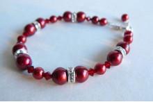 Red Pearl & Crystal Rondel Bracelet