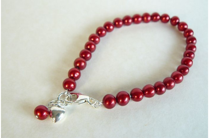 Red Small Round Pearl Bracelet & Sterling Silver Heart