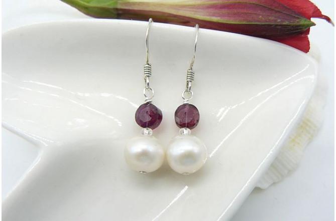 Pearl & Garnet Drop Earrings