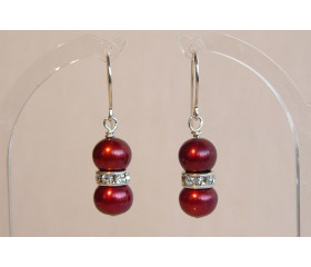 Red Pearl & Crystal Drop Earrings
