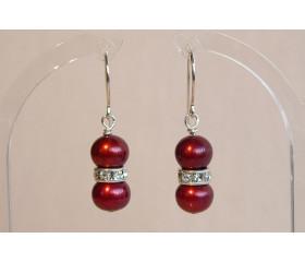 Red Large Pearl & Crystal Drop Earrings