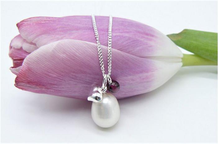 Pearl, Garnet & Sterling Silver Heart Pendant Necklace