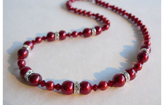 Red Pearl & Crystal Rondel Necklace