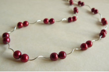 Red Pearl & Spiral Tube Necklace