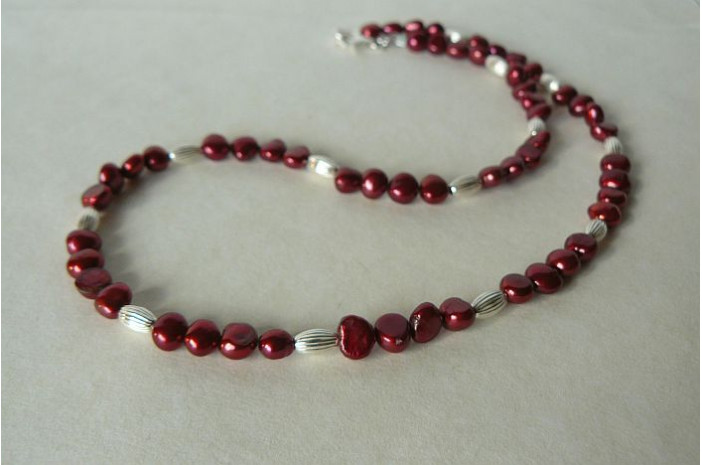 Red Pearl & Silver Bead Necklace