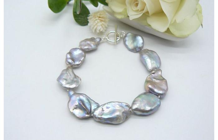 Silver Keshi Baroque Pearl Bracelet