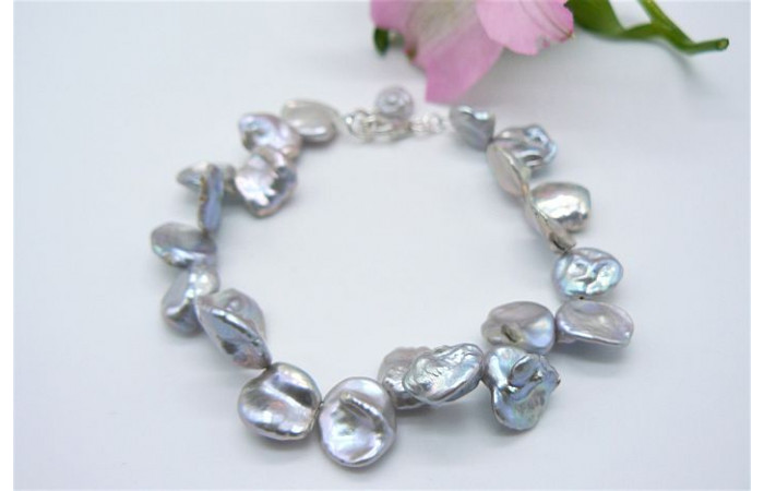 Silver Large Keshi Pearl Bracelet