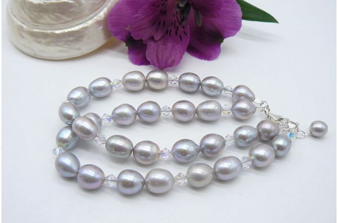 Silver Pearl & Swarovski Crystal Two Strand Bracelet