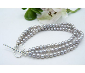 Silver Smallest Round Pearl Three Strand Bracelet & Heart Clasp