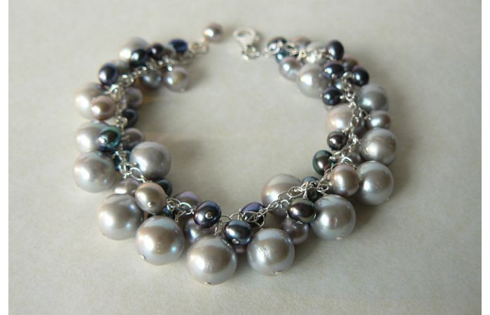 Silver and Grey Pearl Charm Bracelet
