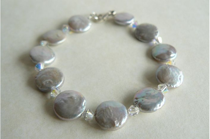 Silver Coin Pearl & Crystal Bracelet