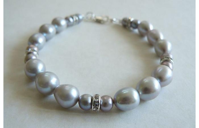 Silver Pearl & Crystal Rondel Bracelet