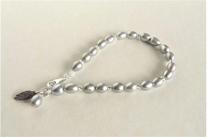 Silver Oval Pearl Bracelet & Leaf Charm