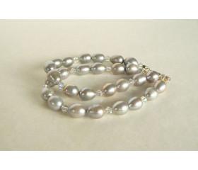 Silver Pearl & Swarovski Crystal Bracelet