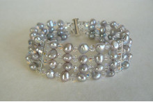 Silver Pearl & Crystal Cuff Bracelet