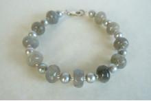 Silver Pearls & Labradorite Bracelet