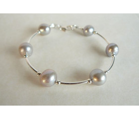 Silver Round Pearl & Silver Bead Bangle Bracelet