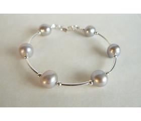 Silver Round Pearl & Silver Bead Bangle Bracelet