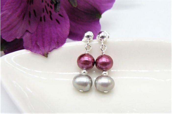 Pink & Silver Pearl Drop Earrings