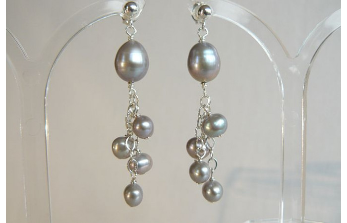 Silver Pearl & Chain Cluster Drop Earrings